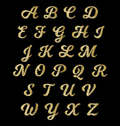Golden glitter alphabet gold font letters vector