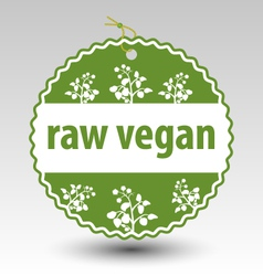 green raw vegan product stamp tag label vector image