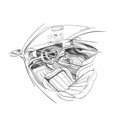 hand drawn automobile interior vector image