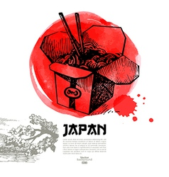 Hand drawn Japanese sushi Sketch vector