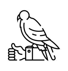 Hand falcon line icon concept sign outline vector