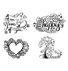 hand lettering set for love card vector image