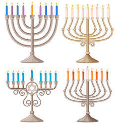 Happy hanukkah with different designs of candle vector