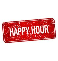 Happy hour red square grunge textured isolated vector