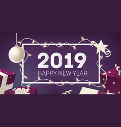 happy new year greeting card template with frame vector image