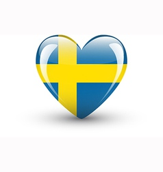 Heart-shaped icon with national flag sweden vector