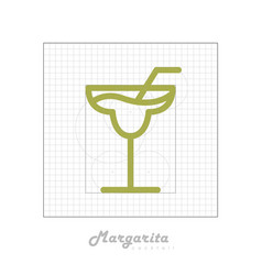 Icon of cocktail with modular grid margarita vector