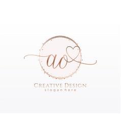 Initial ao handwriting logo with circle template vector