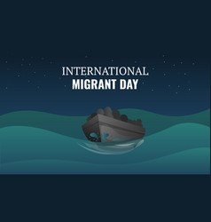 international migrant day concept banner cartoon vector image