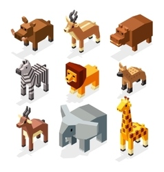 Isometric 3d african savannah animals flat vector image
