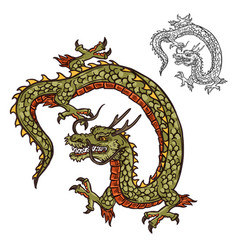 Japanese dragon tattoo design or religion mascot vector