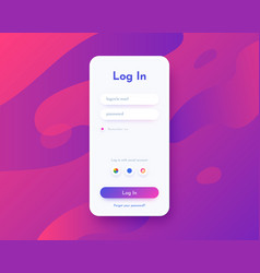 log in screen mobile application interface vector image