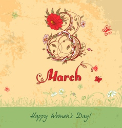 March 8 vintage card vector image