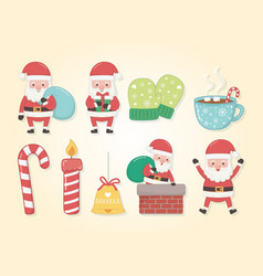 Merry merry christmas card with set icons vector