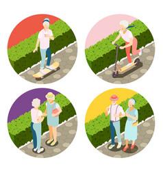 Modern elderly people 2x2 design concept vector
