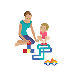 Mom plays with child helping assemble constructor vector