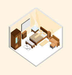 Natural wood classic bedroom isometric home vector