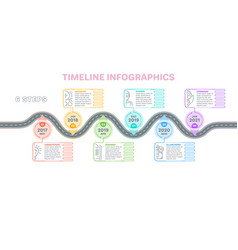 Navigation map infographics 6 steps timeline vector