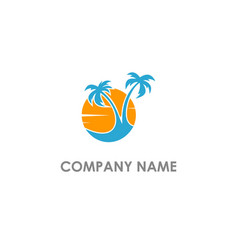 Palm tree sunset landscape logo vector