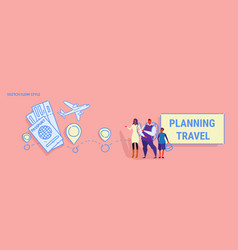 Parents and son standing together family planning vector