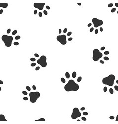 Paw print icon seamless pattern background vector