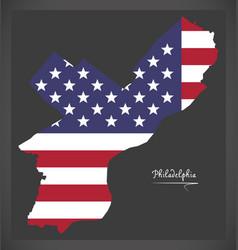 philadelphia map with american national flag vector image