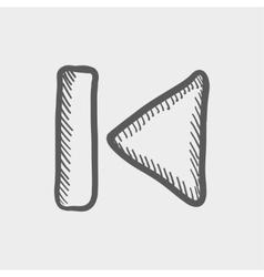 Previous button sketch icon vector