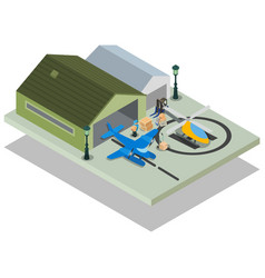 Private airport concept banner isometric style vector