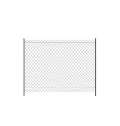 realistic metal chain link fence vector image