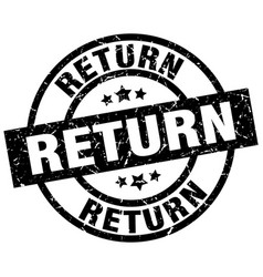 Return round grunge black stamp vector