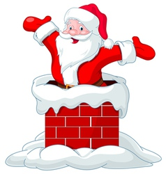 Santa Claus jumping from chimney vector