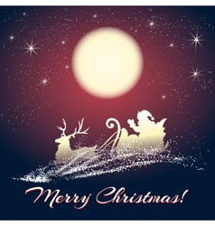 Santa Claus on Sleigh with Reindeer vector image