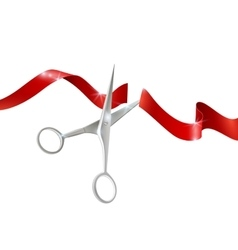 Scissors And Ribbon Realistic vector image