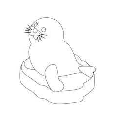 Seal baby on a ice floe coloring page vector