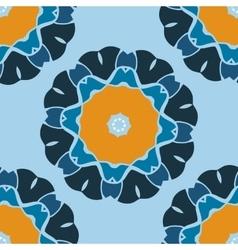 Seamless Print Brown and Blue Mandala vector
