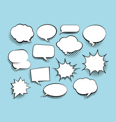 Set comic art speech bubbles with halftone vector