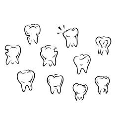 set health and illness teeth vector image