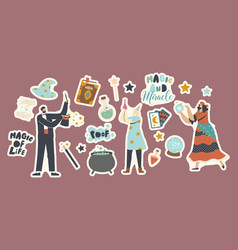 Set stickers circus magician characters vector