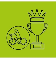 Silhouette person cyclist winner sport vector