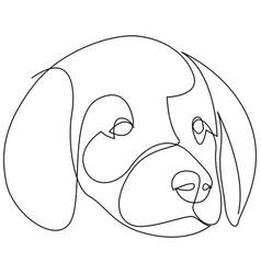 Single continuous line drawing cute labrador vector