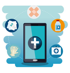 smartphone with medical services app vector image