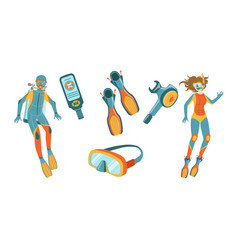 snorkeling and scuba diving elements set scuba vector image