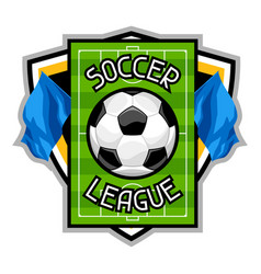 soccer or football badge with ball sports emblem vector image