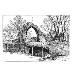 st pancras church ruins canterbury vintage vector image