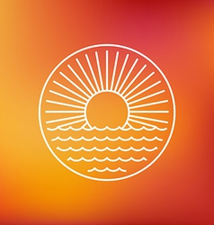 sun emblem in outline style vector image
