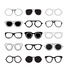 Sunglasses collection silhouettes vector