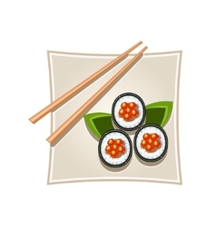 Sushi with Caviar and Sticks Served Food vector