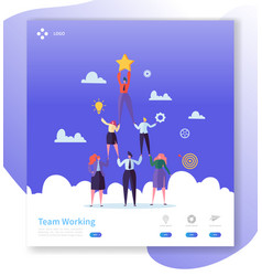 teamwork landing page template characters vector image