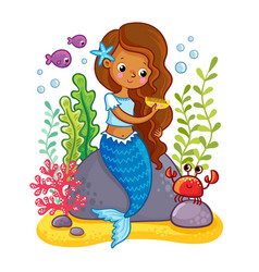 The mermaid sits on a rock and combs vector