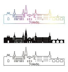 Toledo skyline linear style with rainbow vector image